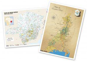 Mapas de Minas Gerais e da Estrada Real, tamanho A3